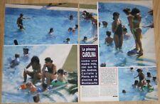 CAROLINE MONACO AT THE POOL 3 page 1990 magazine article clippings bikini photos
