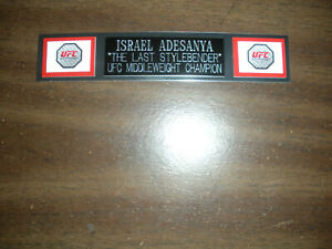 ISRAEL ADESANYA (UFC) NAMEPLATE FOR SIGNED TRUNKS DISPLAY/PHOTO/PLAQUE