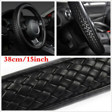 "15"" Black Braiding Style PU Leather Universal Car Steering Wheel Cover Protector"