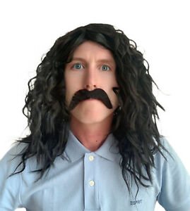Men's Black Wavy Fancy Dress Wig and Handlebar Style Moustache set. UK Seller