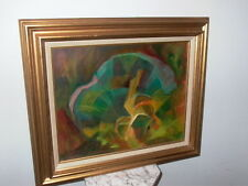 Framed Oil on Board 1976 Abstract Painting Signed