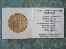 Zertifikat zu 100 Euro Goldmünze 2003 Quedlinburg