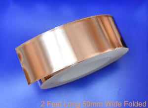 Copper Foil Tape EMI shielding for Guitar/Slug and snail barrier 2'x50mm Folded