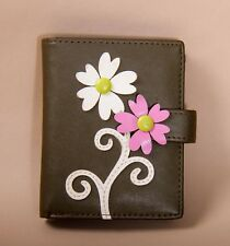 Brown soft leather MENKAI purse wallet coins card holder pink & white flowers