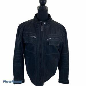 Angelo Litrico Men's Black Leather Motorcycle Jacket Size Medium NWOT
