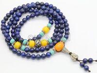 Natural 108 Lapis Lazuli round bead Buddha Prayer Beads Mala Bracelet/Necklace