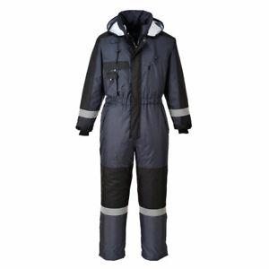 Portwest Waterproof Suit Winter Coverall / Overalls Fishing Biker Work Wear Navy