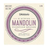 D'Addario EJ70 Mandolin Strings Phosphor Bronze Medium Light Ball End