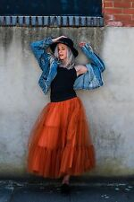 Women's Elastic Waist Tulle Skirt Girls' Party-Casual Skirts ,one size ,orange