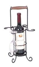 Black Metal Single Wine Bottle & Glasses Carrier: W-16xH-26xD-16cm: Home/Garden