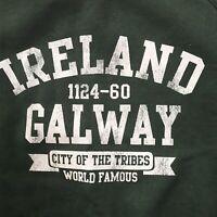 Ireland Crewneck Sweatshirt Galway Graphic Green Pullover XL Cotton Long Sleeve