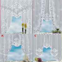 1pcs Floral Coffee Kitchen Home Curtain Vintage Style Window Scarf Knitting TW