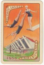 Playing Cards 1 Swap Card - Old Vintage MELBOURNE OLYMPIC GAMES Women's Diving