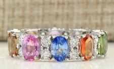 White Gold Diamond Ring 7.33 Carat Natural Sapphire 14K