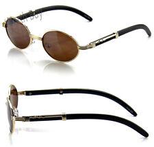 New Mens Womens Fashion Oval Sunglasses Vintage Retro Buffs Designer Wood Shades