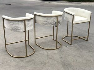 SET OF 3 Calvin Leather Barstools Brindle Cowhide WHITE Leather