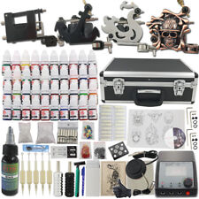 Complete Tattoo Rotary Machine Kit 4 Gun Large Case Power Supply 40 Ink Needle