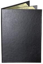 "Menu Covers Black Casebound Triple Panel - 4-View - 8.5"" x 11"""