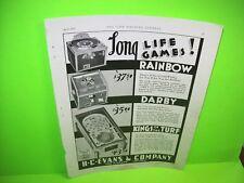H.C. Evans KINGS OF THE TURF / DARBY / RAINBOW 1935 Original Pinball Machine Ad