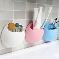 1*Home Bathroom Toothbrush Wall Mount Holder Suction Cup Toothpaste Storage Rack