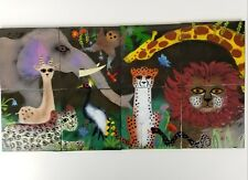 Vintage Enamel Wall Art Jungle Animals Copper Tiles Kids Room XL 32in Long
