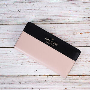 NWT Kate Spade Staci Colorblock Large Slim Bifold Wallet in Warm Beige/Black
