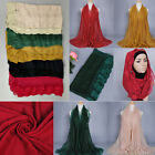 Lace Border Muslim Long Scarf Hijab Islamic Shawls Arab Headwear Shayla