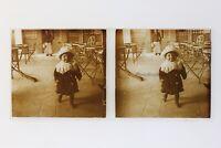 Famille Bambini Francia Foto Stereo Amateur L5n15 Placca Da Lente Vintage c1910