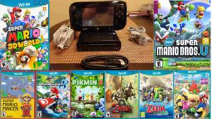 Nintendo Wii U Deluxe 32GB Black Handheld System 8 Games, Huge Bundle!! Tested
