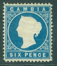 More details for sg 18a gambia 1880-81. 6d blue, watermark sideways. fine mounted mint cat £225