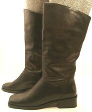NATURALIZER BLACK Brazil Leather Tall Riding Boots Shoes Low Heels Womens 6M EUC