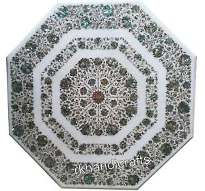 Marble Dining Table Top Inlay Reception table with Abalone Shell Stone 48 Inches