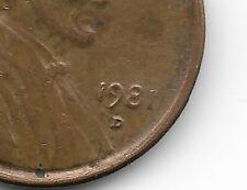Penny Error 1981 D Lincoln Memorial D/D D over D Mint Mark