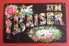 CPA. 1911. UN BAISER. Grosses Lettres. Couples. Colombes. Roses. Bonne Année.
