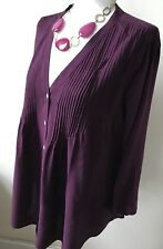 Phase Eight Size 10 Plum Pleated Front V Neck 3/4 Sleeved Viscose Blouse