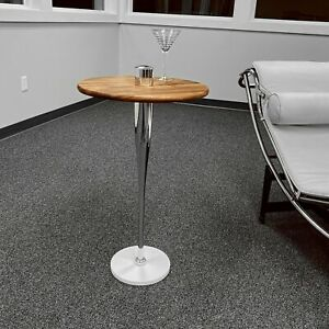 Polished Chrome Modern Art Baseball Bat Martini Side Table w/ Acacia Wooden Top