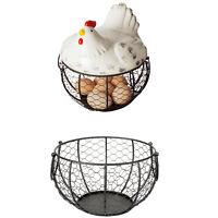 Iron Egg Storage Basket Snack Fruit Basket Creative Collection Ceramic Hen  P9P5