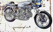 Ducati 900SS 1978 ghosted Aged Vintage SIGN A4 Retro