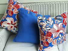 "SET OF 3 CUSHION COVERS 2 PRINTED,1 PLAIN DYE 'HIBISCUS BLUE"" RED, WHITE & BLUE"