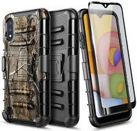 For Samsung Galaxy A01 Case, Belt Clip Holster Phone Cover + Screen Protector