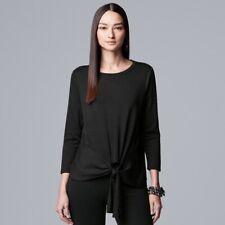 VERA WANG Drape Front Tee Top Shirt with Tie BLACK 3/4 Sleeve sz XXL  2X