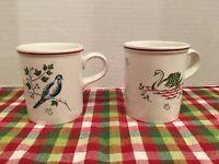 JOHNSON BROTHERS Holiday 12 DAYS CHRISTMAS 2 Mugs  Partridge Tree + Swans Swim