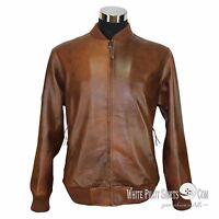 Mens Leather Jacket Club Monaco Polo Rib Bomber Simple style Gents soft jacket