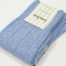 Neiman Marcus Wide-Rib Knit Cashmere Blend Socks LIGHT BLUE Made in Italy NWT