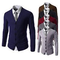 Stylish Men's Slim Fit V-neck Knitwear Pullover Cardigan Sweater Jacket Coat