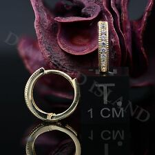 0.4 Ct Solid 14K Yellow Gold Created Diamond Huggie Hoop Milgrain Edge Earrings