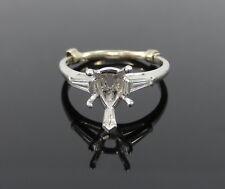 Vintage 0.40ct Diamond & Platinum Engagement Semi Mount Ring 10x6mm Pear Shape