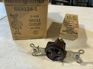 10x GE GE4124-1 Single Receptacles 20A 250V, 3-Wire Brown, NOS
