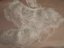 White & Silver Gathered Triple Ruffled Lace Trim, Christmas Lace, Bridal Lace