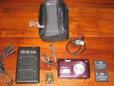 Nikon COOLPIX S4300 16 MP W/ 6x Zoom NIKKOR Glass Lens - Plum + 4GB CARD + CASE